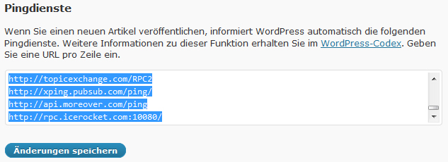 wordpress-pingdienste