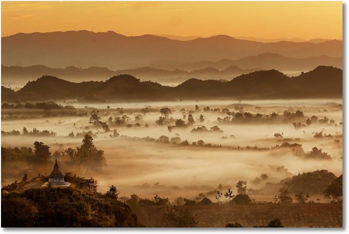 Landschaft Nebel morgens