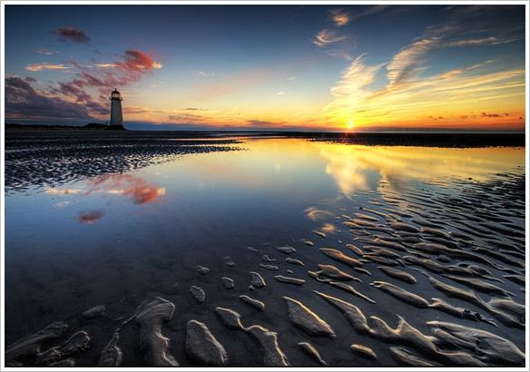 Ebbe Sonnenuntergang Leuchtturm