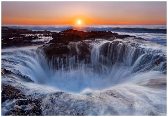kreisrunder Wasserfall