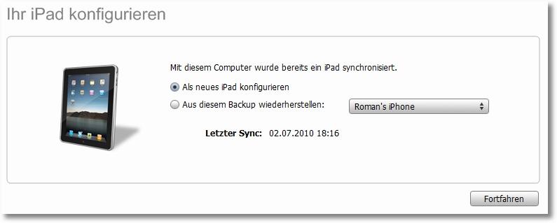 iPad Sync Fehler